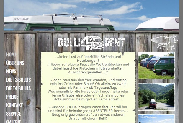 Screenshot der Homepage von Bulli 4 Rent