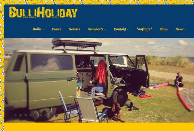 Screenshot der Homepage von BulliHoliday