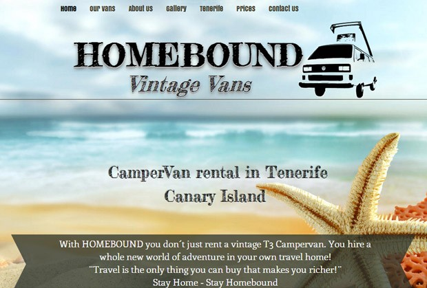 Screenshot der Homepage von Homebound