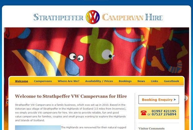 Screenshot der Homepage von Strathpeffer