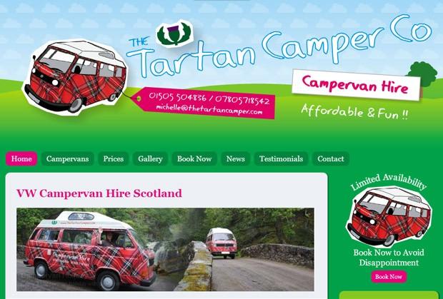 Screenshot der Homepage von Tartan Camper Company