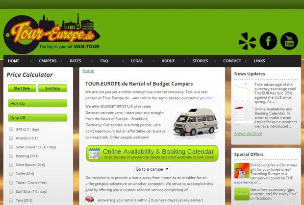Screenshot der Homepage von Tour Europe