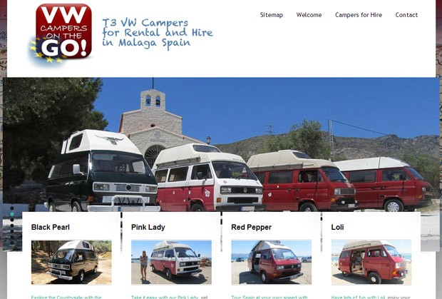 Screenshot der Homepage von VW Campers on the GO
