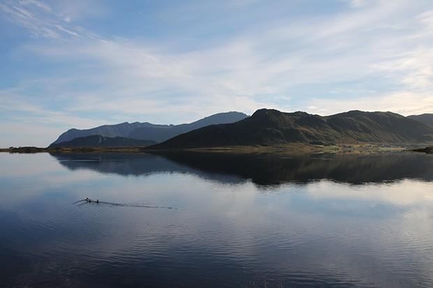 Blick auf einen See auf den Lofoten