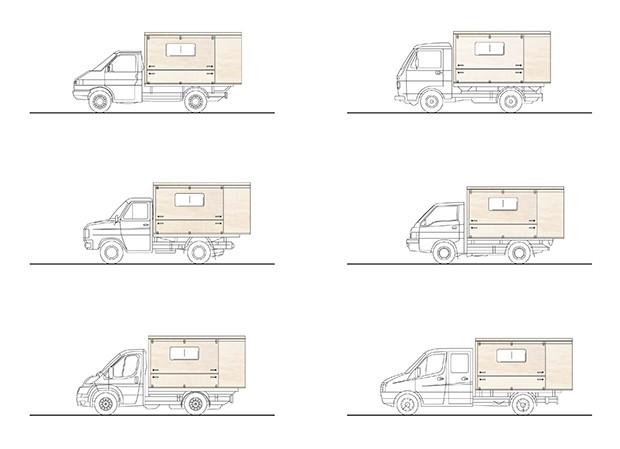 Seitenansicht Absetzkabine für jedes Modell von Pritschenwagen