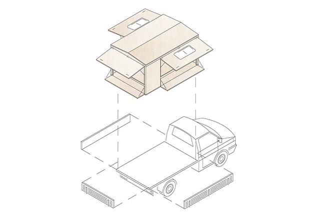 Axonometrie Absetzkabine auf Pritschenwagen