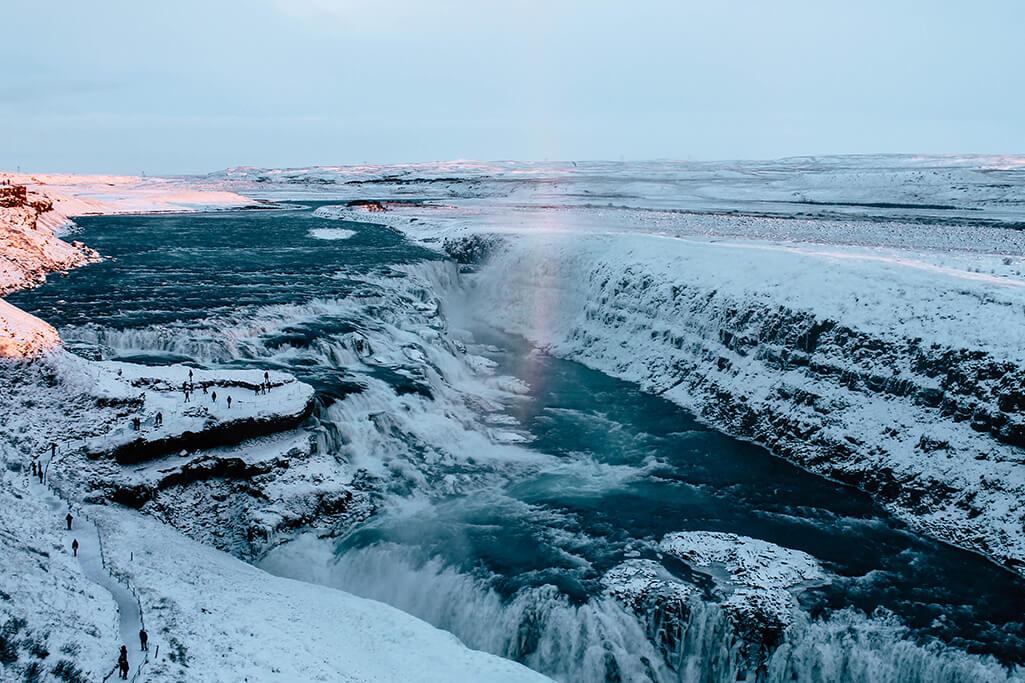 Blick auf den Gullfoss Wasserfall vom Golden Circle