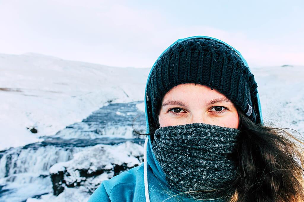 Selfie vor dem Skogafoss in Island