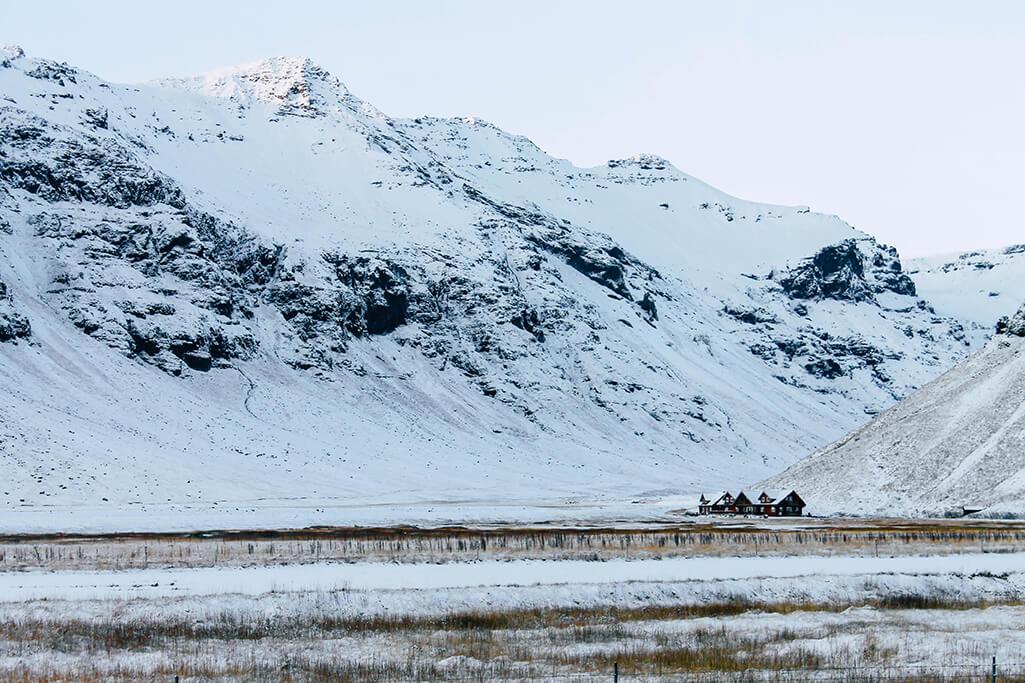 Ein allein stehendes Haus in Island