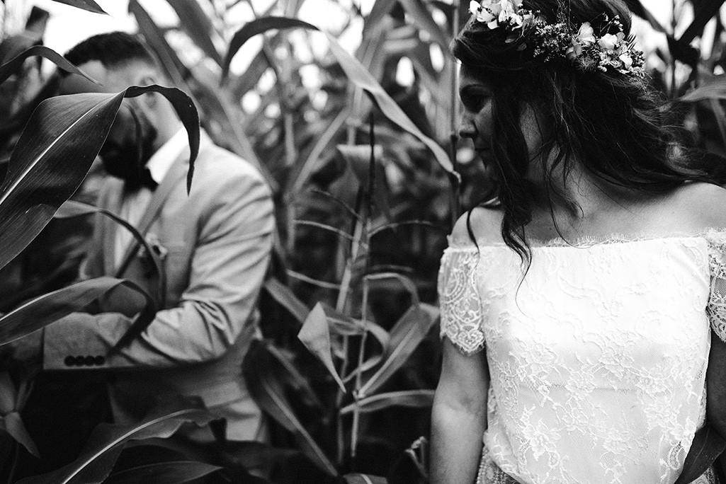 Brautpaar im Maisfeld