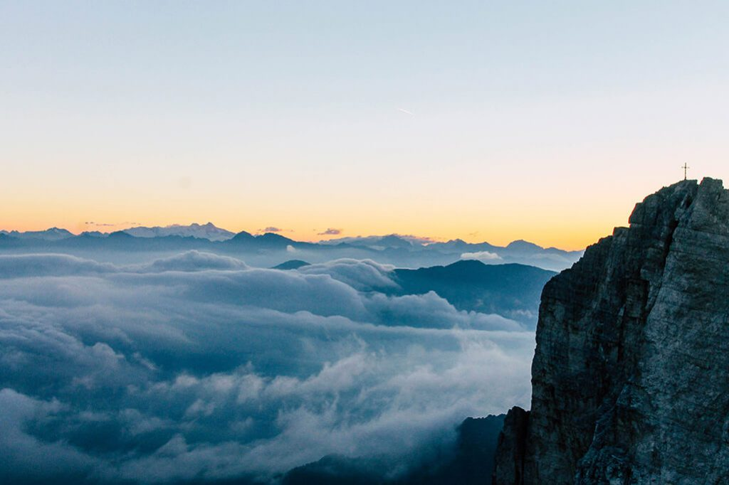Blick auf den Einserkofel in den Sextner Dolomiten