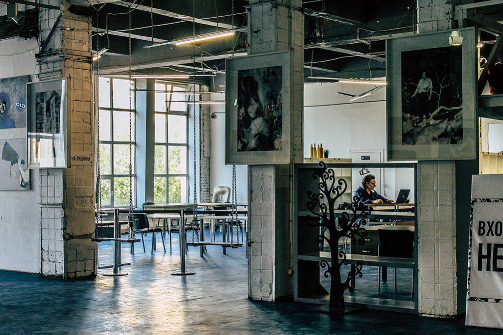 Innenraum eines Industriegebaeudes in St. Petersburg