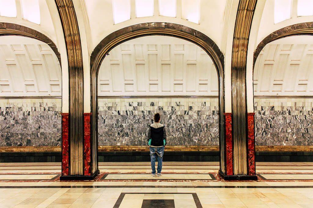 Metro Station Mayakovskaya in Moskau