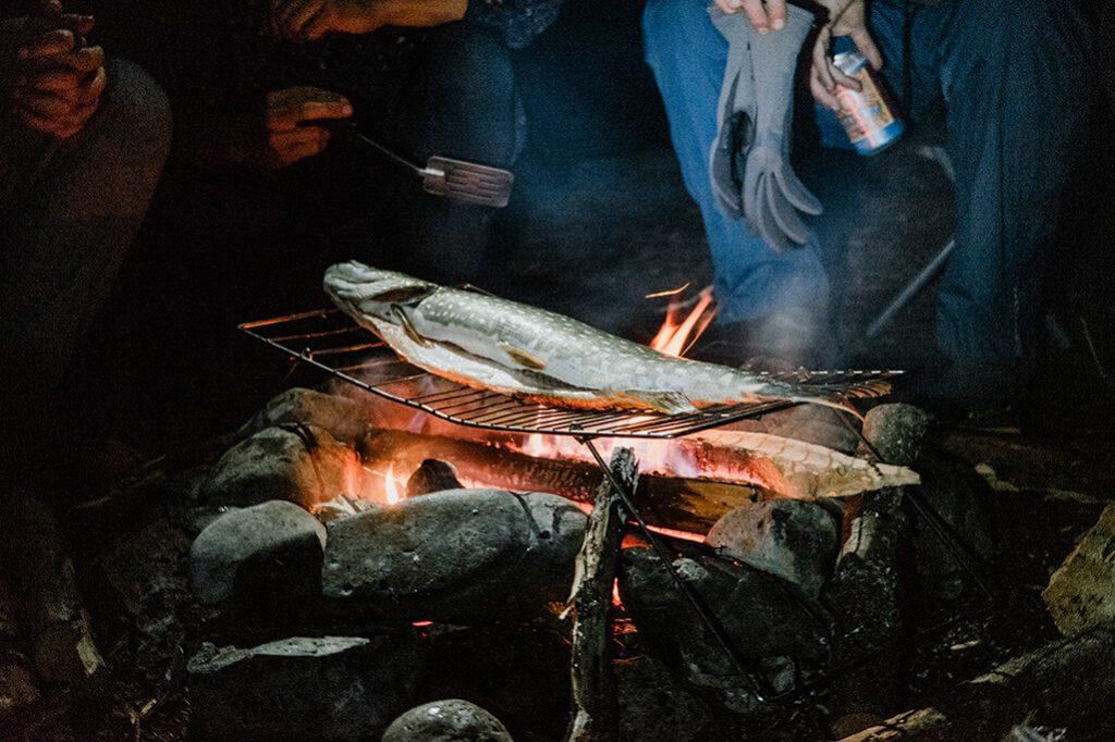 Fisch ueber Lagerfeuer waehrend Kanutour Yukon