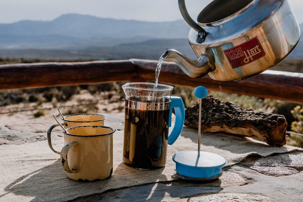 Outdoor Kaffee kochen mit der French Press