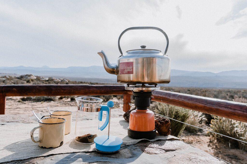 Outdoor Kaffee kochen in Südafrika