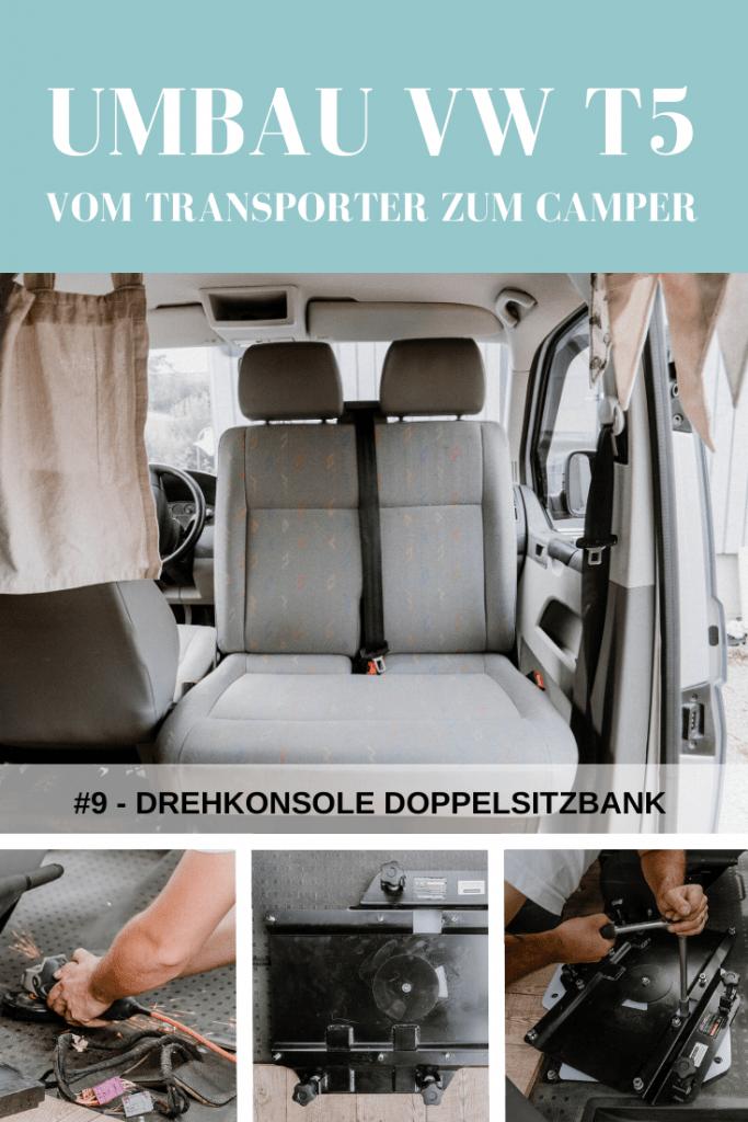 Umbau VW T5 Transporter: Einbau einer Drehkonsole für die Doppelsitzbank.
