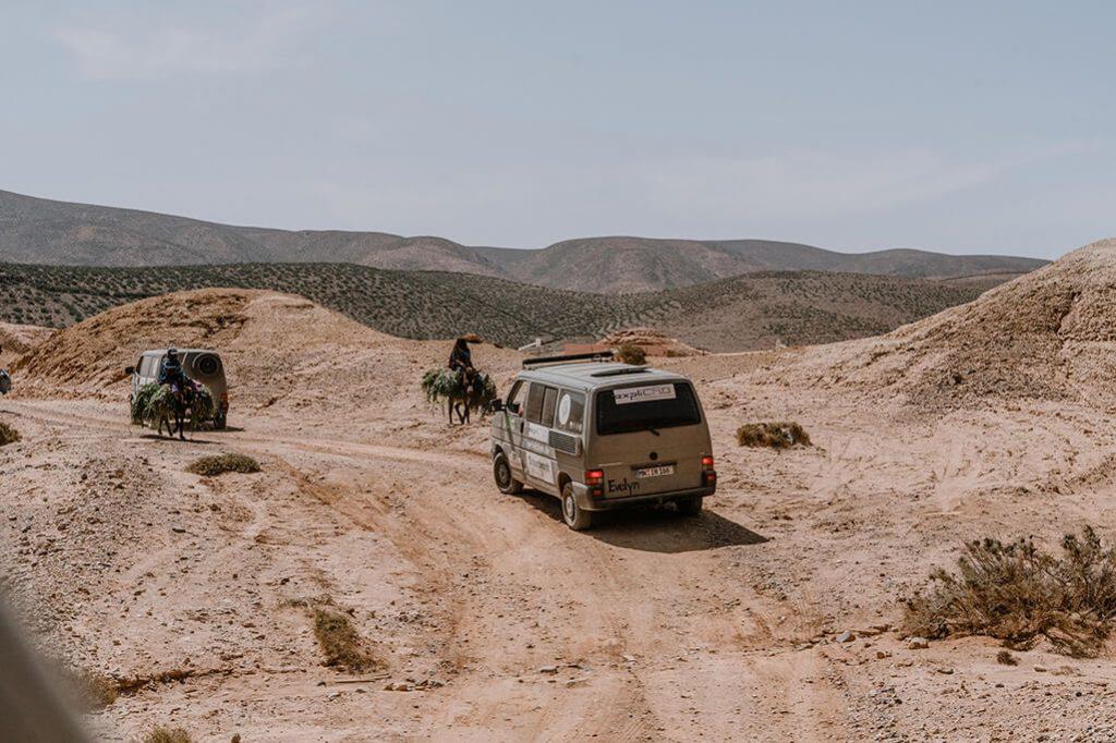 Frauen auf Eseln in Marokko