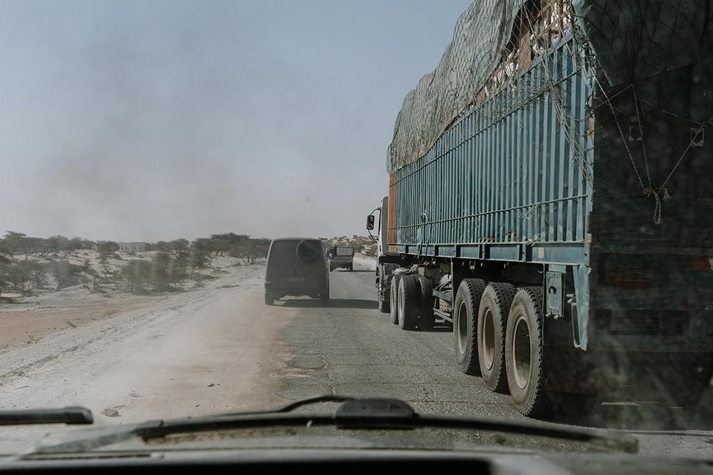 Straße in Mauretanien Richtung Senegal
