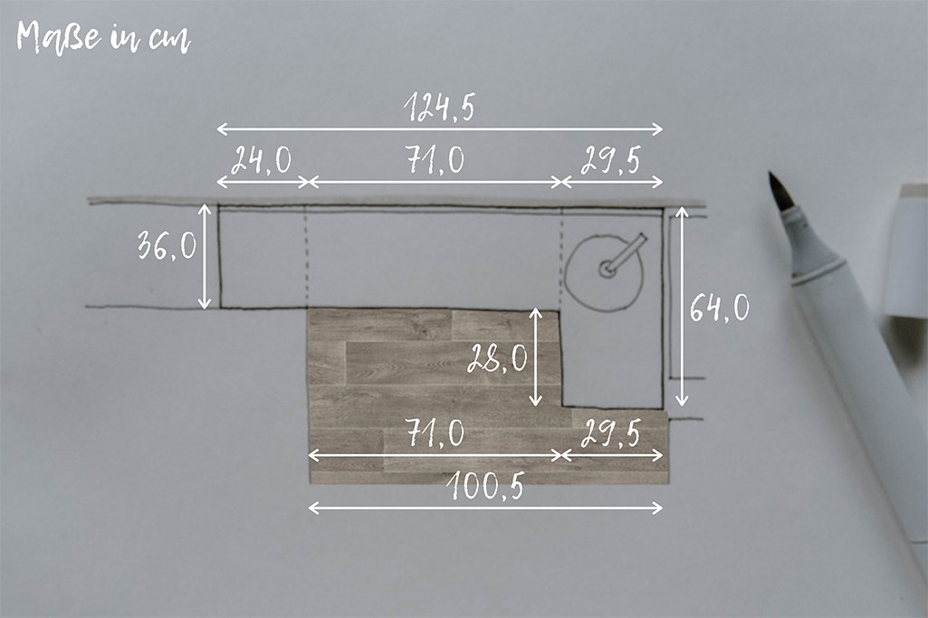Außenmaße einer Selbstbau-Küche für VW T5