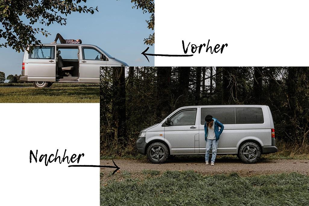 Scheibentönung VW T5 Camper vorher und nachher